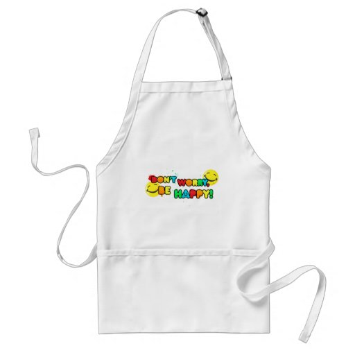 bright don't worry be happy smiley face design aprons