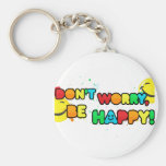 bright don't worry be happy smiley face design basic round button key ring