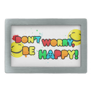 bright don't worry be happy smiley face design belt buckles
