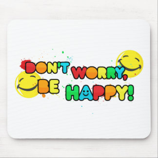 bright don't worry be happy smiley face design mouse pad
