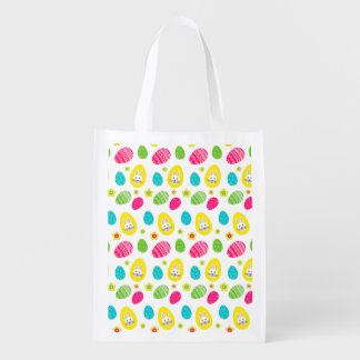 Bright Easter Pattern with Bunny and eggs Reusable Grocery Bag