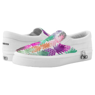 Bright exotic pineapples pastel watercolor Slip-On shoes