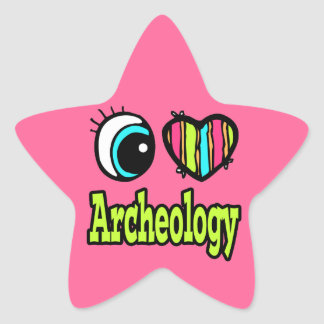 Bright Eye Heart I Love Archeology Star Sticker