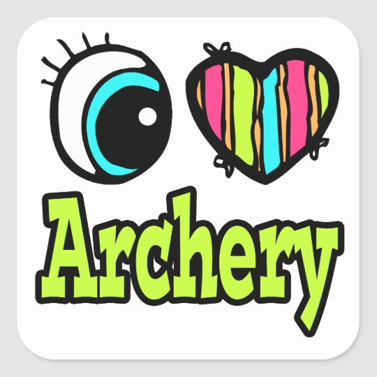Bright Eye Heart I Love Archery Square Sticker