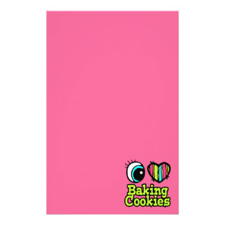 Bright Eye Heart I Love Baking Cookies Personalized Stationery