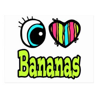 Bright Eye Heart I Love Bananas Postcard