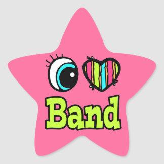 Bright Eye Heart I Love Band Star Sticker