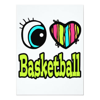 Bright Eye Heart I Love Basketball Personalized Announcement