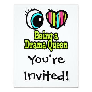 Bright Eye Heart I Love Being a Drama Queen 11 Cm X 14 Cm Invitation Card