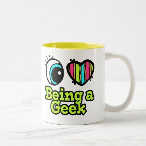 Bright Eye Heart I Love Being a Geek Mugs