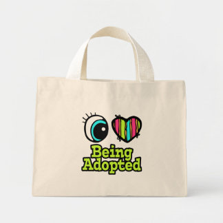 Bright Eye Heart I Love Being Adopted Canvas Bags