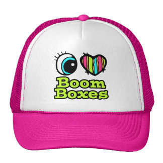 Bright Eye Heart I Love Boom Boxes Mesh Hat