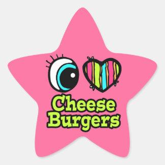 Bright Eye Heart I Love Cheeseburgers Stickers