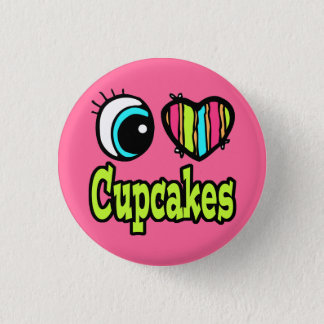 Bright Eye Heart I Love Cupcakes 3 Cm Round Badge
