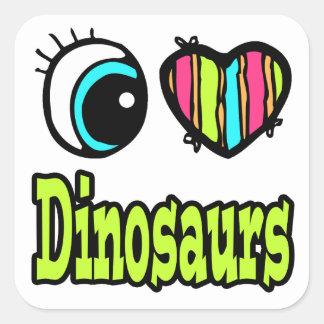 Bright Eye Heart I Love Dinosaurs Square Stickers
