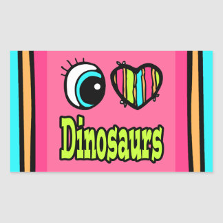 Bright Eye Heart I Love Dinosaurs Rectangle Stickers