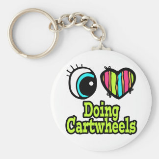 Bright Eye Heart I Love Doing Cartwheels Basic Round Button Key Ring