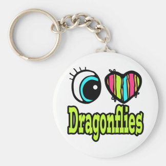 Bright Eye Heart I Love Dragonflies Basic Round Button Key Ring