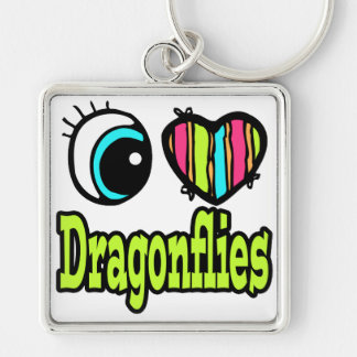 Bright Eye Heart I Love Dragonflies Silver-Colored Square Key Ring
