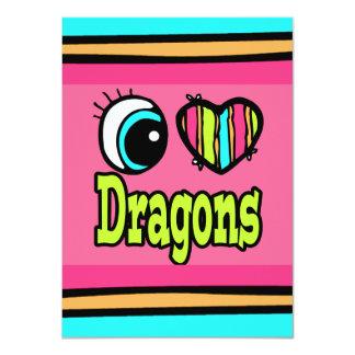 Bright Eye Heart I Love Dragons 11 Cm X 16 Cm Invitation Card