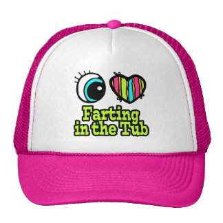Bright Eye Heart I Love Farting in the Tub Mesh Hats