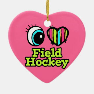 Bright Eye Heart I Love Field Hockey Christmas Ornament