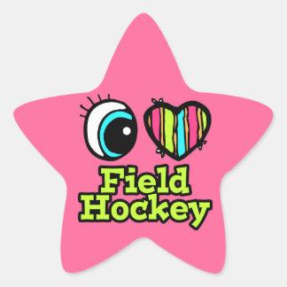 Bright Eye Heart I Love Field Hockey Star Sticker