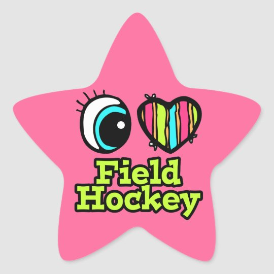 Bright Eye Heart I Love Field Hockey Star Sticker