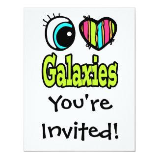 Bright Eye Heart I Love Galaxies 11 Cm X 14 Cm Invitation Card