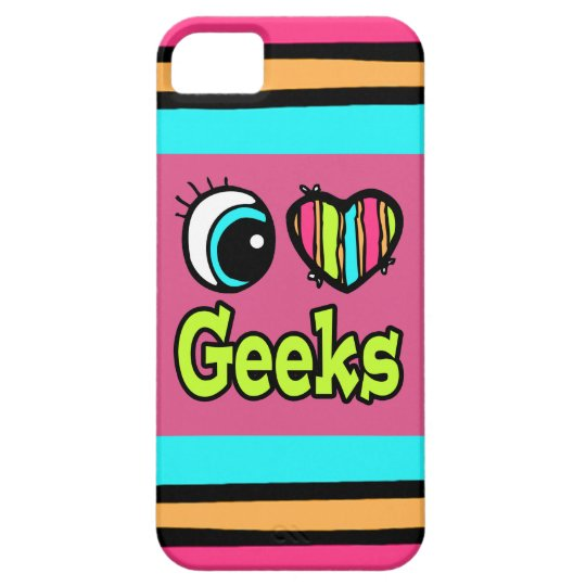 Bright Eye Heart I Love Geeks iPhone 5 Cases