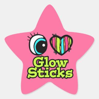 Bright Eye Heart I Love Glow Sticks Star Sticker