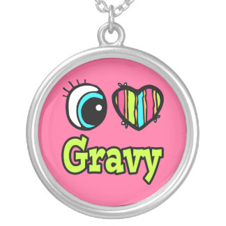 Bright Eye Heart I Love Gravy Silver Plated Necklace