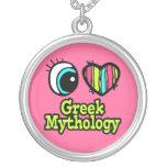 Bright Eye Heart I Love Greek Mythology Round Pendant Necklace