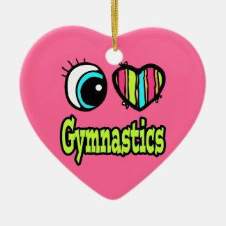 Bright Eye Heart I Love Gymnastics Christmas Ornament