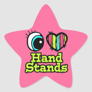 Bright Eye Heart I Love Hand Stands Star Sticker