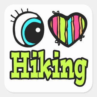 Bright Eye Heart I Love Hiking Square Sticker