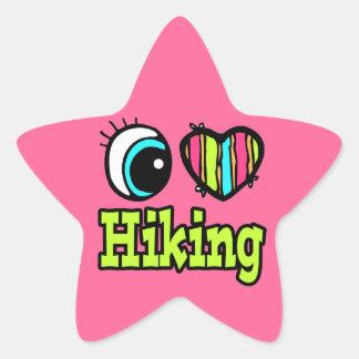 Bright Eye Heart I Love Hiking Star Stickers