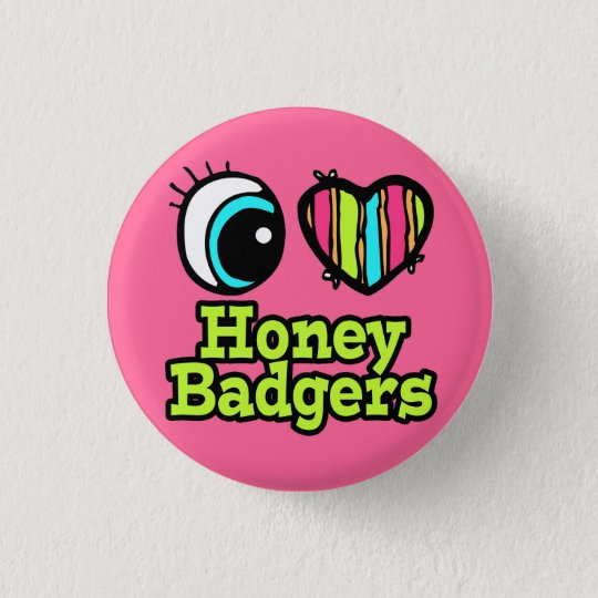 Bright Eye Heart I Love Honey Badgers 3 Cm Round Badge