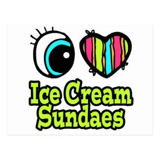 Bright Eye Heart I Love Ice Cream Sundaes Postcard