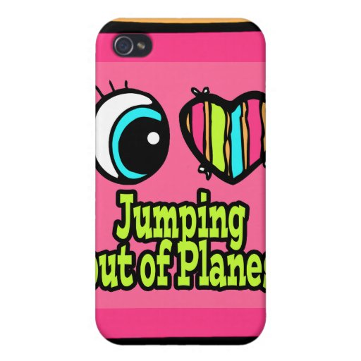 Bright Eye Heart I Love Jumping out of Planes Case For iPhone 4