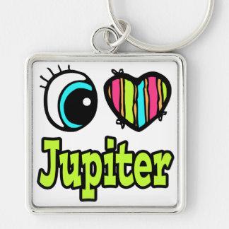 Bright Eye Heart I Love Jupiter Silver-Colored Square Key Ring