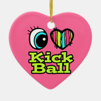 Bright Eye Heart I Love Kick Ball Christmas Ornament