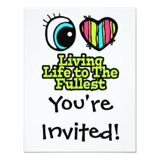 Bright Eye Heart I Love Living Life to the Fullest 11 Cm X 14 Cm Invitation Card