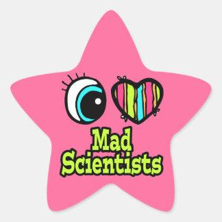 Bright Eye Heart I Love Mad Scientists Star Sticker