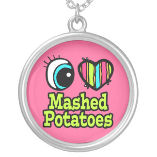 Bright Eye Heart I Love Mashed Potatoes Round Pendant Necklace