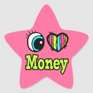 Bright Eye Heart I Love Money Sticker