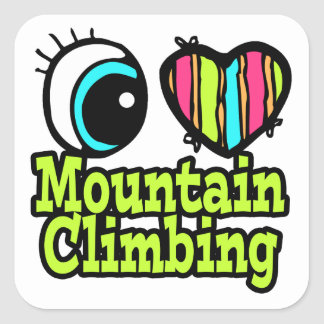 Bright Eye Heart I Love Mountain Climbing Square Sticker