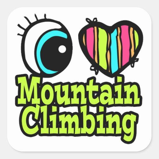 Bright Eye Heart I Love Mountain Climbing Sticker