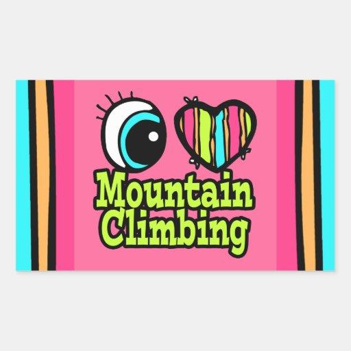 Bright Eye Heart I Love Mountain Climbing Rectangle Stickers