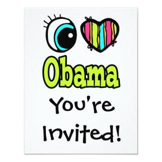 Bright Eye Heart I Love Obama Invitation